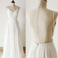 Delicate White Chiffon Backless Prom Dress with Lace, Backless Prom Dress 2016, Prom Gown 2016, Evening Dresses