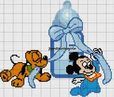 Cross Stitch For Kids, Cute Cross Stitch, Cross Stitch Charts, Cross Stitch Patterns, Animated Disney Characters, Baby Cartoon Characters, Baby Mickey Mouse, Mickey Mouse And Friends, Baby Motiv
