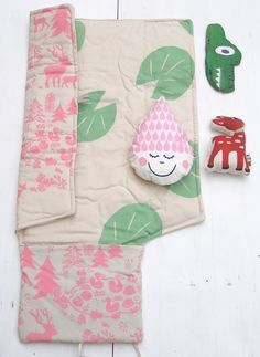 Our silk screen printed Waterlily changing mat, Deer rattle and raindrop crinkle rattle can be the perfect baby shower gift