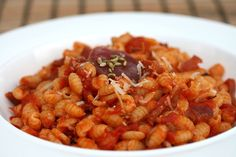 "Gnocchetti sardi con Salsiccia - Sardinian ""gnocchetti"" (typical kind of pasta) with sausage sauce"