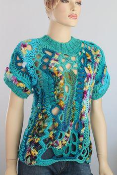 Hippie Boho Gypsy Rainbow Thick Freeform Crochet by levintovich