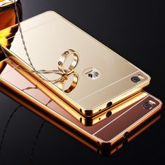 Luxury Mirror Case For Huawei Ascend P8 Lite Hybird Deluxe Ultra Slim Gold Plating Aluminum Frame Acrylic Back Cover Capa Caso