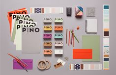 Pino, Retail Design and Branding. Bold logo types used on range of bright coloured stock. Graphic Design Projects, Graphic Design Branding, Stationery Design, Corporate Design, Identity Design, Retail Design, Visual Identity, Graphic Design Inspiration, Typography Design