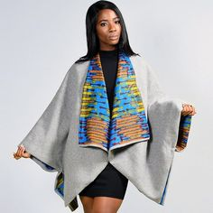 Stay stylish in the Scandal Cape – Grey by Diarrablue • available in multiple fabrics at zuvaa + enjoy FREE shipping in the US