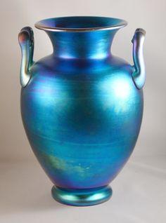 """Carder Steuben """"M"""" Handled Vase; Shape 8508 in Blue Aurene"""