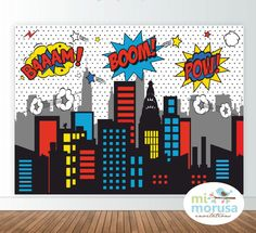 Superheroe comic printable backdrop, comic, bubbles, city skyline, instant download by Mimorusa on Etsy
