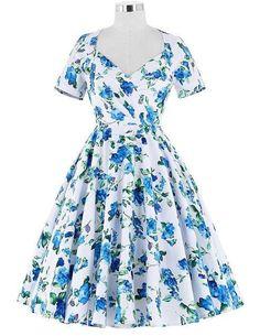 Summer Women Rockabilly Dress 2017 Hollow Back Short Sleeve Audrey Hepburn Plus Size Vestidos 50s Vintage Floral Print Dresses