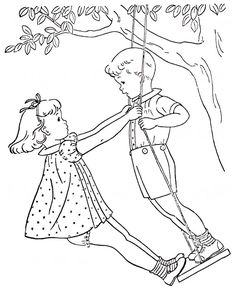 Girl and Boy Standing on Swing - embroidery redwork pattern