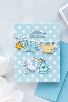 Simon Says Stamp   Welcome Little One - Baby Card using Oh Baby sss101815 stamps and coordinating dies #simonsayssstamp #simonsaydbestdays #stamping #babycard #cardmaking