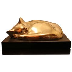 William Zorach, Rare Cat in Bronze. I believe someone brought one of these to an Antiques Roadshow I'd seen recently but it was more patinated than this. I dearly love cats and have been sketching poses for a sculpture. Ref.