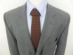 Sz 50R Men's JOSEPH & FEISS 100% Wool Solid Gray Plaid Two Button Blazer Jacket #JosephFeiss #TwoButton