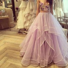 Hot Pinned Ribbon Edged Organza Skirt With Draped Layers A-line Floor Length High Waist Lavender Organza Skirt For Women from SheSimplyShops.
