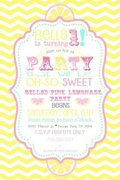 Bella's Pink Lemonade Party invitation summerspastryperfect.com