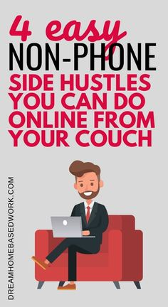 Ever wondered if there are any side hustles you can do online from your couch? There are! Here are four of the easiest non-phone side hustle online jobs you can do without having to leave your comfy armchair. #ontheside #getpaid #makemoneyonline Earn Money Online Fast, Make Money Blogging, Make Cash Fast, How To Make Money, Need Cash Now, Home Based Work, Comfy Armchair, Typing Jobs, Virtual Assistant Jobs