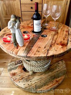 Bespoke Handmade Wooden Cable Drum reel Table Rope Bottle rack
