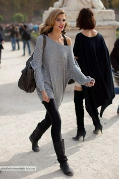 Breathe New Life Into Your Old Boots : Casual Outfit Street Style Fashion Moda, Look Fashion, Womens Fashion, Fashion Trends, Fall Fashion, Fashion Pants, Sweater Fashion, Fashion Beauty, City Fashion