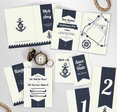 Preppy Sea Side Theme Wedding Invite and Stationery via Etsy