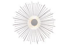 Metal Radial Wall Accent Mirror Black