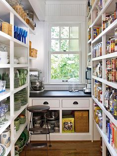 Pantry with window.