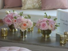 Pinks and golds Pink And Gold, Table Settings, Vase, Create, Unique, Wedding, Home Decor, Casamento, Homemade Home Decor