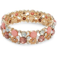 Design Lab Lord & Taylor Faceted Crystal and Faux Pearl Bracelet (96 PEN) ❤ liked on Polyvore featuring jewelry, bracelets, peach, fake pearl jewelry, artificial jewellery, peach jewelry, fake jewelry and imitation jewelry