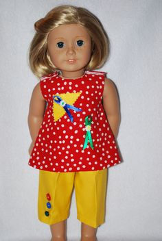 "Doll Clothes fit 18 "" American Girl Dolls handmade in the USA. by Grandma  #cottoncottonsporttwillqualityfabrics #DollClothes2pccolorfulcapriset"