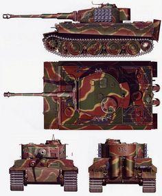 Tiger №-134 Schwere SS Panzer Abteilung 102, Normandy, June 1944, in camouflage!