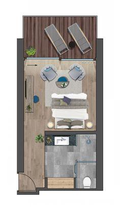 Modern House Floor Plans, Bedroom Floor Plans, Bungalow Hotel, Hotel Bedroom Design, Boutique Hotel Room, Resort Plan, Hotel Floor Plan, Luxury Rooms, Room Planning