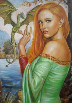Dragon delivering a ring to a Celtic Elven princess. Pet Dragon, Dragon Ring, Fire Dragon, Dragon Lady, Elven Princess, Enter The Dragon, Dragon Pictures, Fantasy Dragon, Fairy Princesses