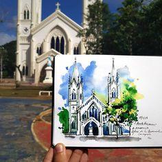 Alicia Aradilla (@a.aradilla) в Instagram: «Inmaculada Concepción Church in Puerto Princesa ⛪ #philippines #aquarell #art #painting #watercolor #watercolour #sketch  #paint  #drawing #sketching #sketchbook #travelbook #archisketchery #sketchaday #sketchwalker #sketchcollector  #traveldiary #topcreator #usk  #urbansketch #urbansketchers #скетчбук #скетч #скетчинг #pleinair #aquarelle #watercolorsketch #usk #architecture #painting #illustration