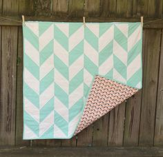 Mint and Coral Herringbone Baby Quilt by TwinCityQuiltCo on Etsy