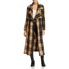 Free People Anahime Textured Plaid Coat ($230) ❤ liked on Polyvore featuring outerwear, coats, beige, brown trench coat, plaid coat, free people coat, beige coat and knit trench coat