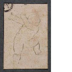 """Nacktes Kind      Hans Holbein d. J.     Augsburg um 1497/1498–1543 London      Nacktes Kind, zwischen 1532–1543      Silberstift auf weiss grundiertem Papier     Blatt: 3.1 x 2.1 cm     Kunstmuseum Basel, Kupferstichkabinett, Amerbach-Kabinett, aus dem """"Englischen Skizzenbuch""""     Inv. 1662.165.33"""