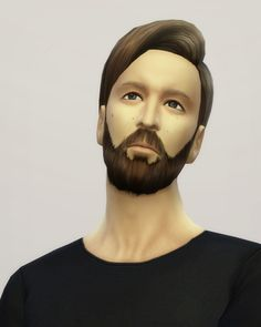 Sims 4 Hairs ~ Rusty Nail: Long wavy classic hair for him Sims Hair, Full Beard, Medical, The Sims4, Healthy People 2020 Goals, Baby Skin, Public School, Ombre Hair, Long Nails