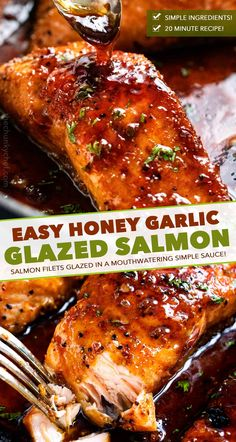 HONEY GARLIC SALMON - Succulent and tender salmon filets cooked in a mouthwatering simple honey garlic sauce, then broiled until sticky and caramelized.  Made with simple ingredients, in one pan, and in just 20 minutes! #salmon #honeygarlic #onepan #easyrecipe #dinner #seafood #fish...