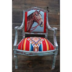 Totem Salvaged Vintage Horse Needlepoint Serape Chair www.maverickstyle.net