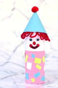 Circus Theme Crafts, Clown Crafts, Carnival Crafts, Puppet Crafts, Glue Crafts, Easy Crafts, Kid Crafts, Toilet Paper Roll Crafts, Cardboard Crafts