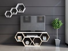 Contemporary Honeycomb Design 54 Inches TV Stand, Featuring Five Open Shelves, Chic and Space Saving Style, Both Decorative and Functional, Perfect for Displaying Books and Magazines + Expert Guide Tv Unit Furniture Design, Tv Unit Interior Design, Tv Wall Design, Home Decor Furniture, Home Decor Bedroom, Bedroom Closet Design, Home Room Design, House Arch Design, Home Decor Shelves