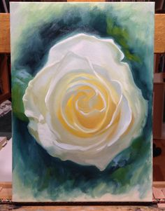 Alla prima painting of a white rose, by Vincent Keeling