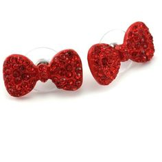 Cute Lovely Red Ribbon Bow Tie Bowknot Stud Post Earrings Fashion... ($8.99) ❤ liked on Polyvore featuring jewelry, earrings, stud earrings, red jewelry, studded jewelry, earring jewelry and red jewellery