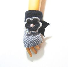 Handknit Gray Gloves, Woman Fingerless, Knit Gray Mitten, Winter Arm Warmers, Trendy Women Gloves, Winter Gloves