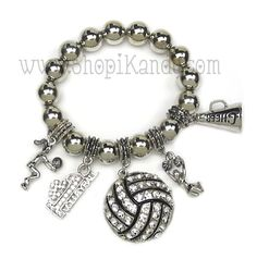 Volleyball Charm Bracelet  www.shopikandy.com Super Cute!