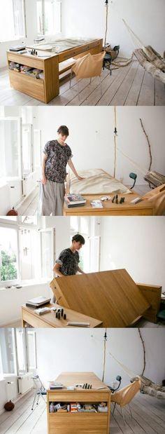 vertical murphy wall bed and desk - Platzsparende Betten Fr Kleine Rume