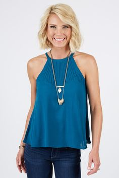 Gauze Pintuck Tank | The #1 boutique for moms! $5 Flat Rate Shipping + FREE shipping on all orders over *$50. #Evereve