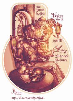 #antiquefreak #sketch #graphics #Sherlock #SherlockHolmes #VasilyiLivanov #Holmes #elementary #steampunk #vintage #drawing #black #art #tattooflash #clock #lantern #loupe #jentleman #pipe #mechanics #gears #BigBen #airship