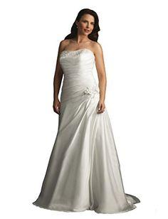 Allure Bridals Women's W264 Strapless Pleated Satin Plus Size Wedding Dress