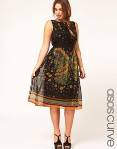 midi semi-sheer chiffon bold print dress w/ cross back