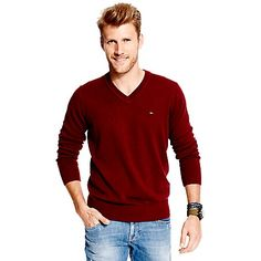 Tommy Hilfiger men's sweater. Our classic V-neck spun from a fine-gauge knit that's just right for layering. Contemporary hues provide that subtle twist on tradition.<br>• Classic fit.<br>• 100% cotton.<br>• Ribbed trim, V-neck.<br>• Machine washable.<br>• Imported.<br>