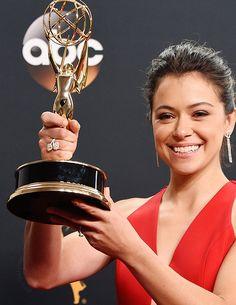 Tatiana Maslany with Emmy