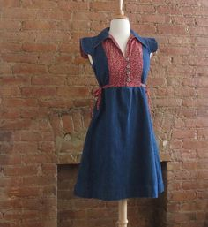 Vintage 1970s Denim Calico Dress   - 70s Red Floral Prairie Dress  - Molly May Flower